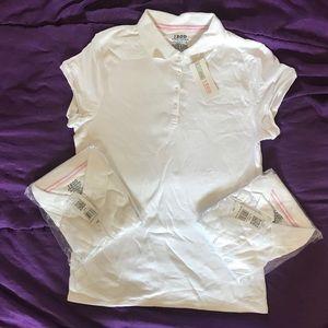 Lot of 3 NWT! Girls/Jr  (1X) White Uniform Polos.